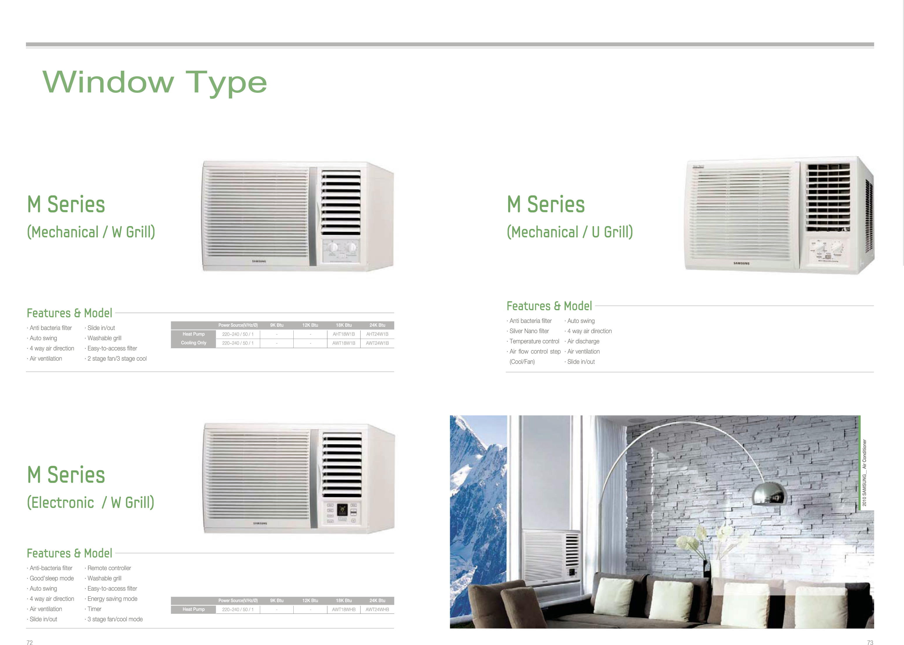 Window wall type m series for 12 inch high window air conditioner